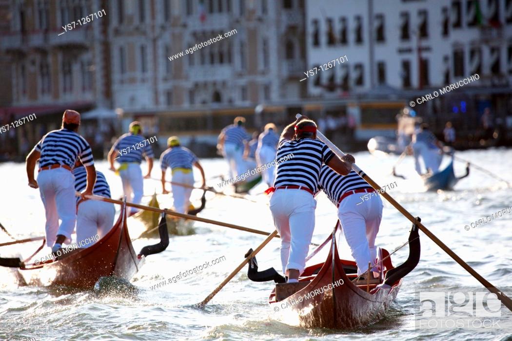 Stock Photo: Gondolini regatta during Regata Storica, Venice, Italy.
