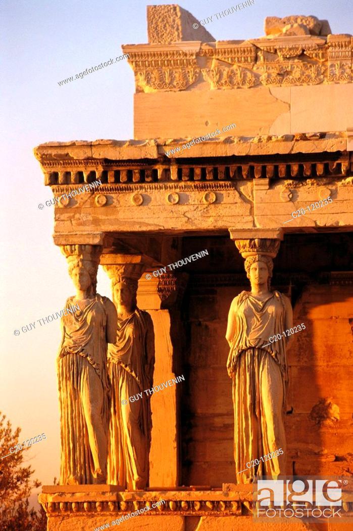 Stock Photo: Caryatids of the Erechtheion. Acropolis, Athens. Greece.