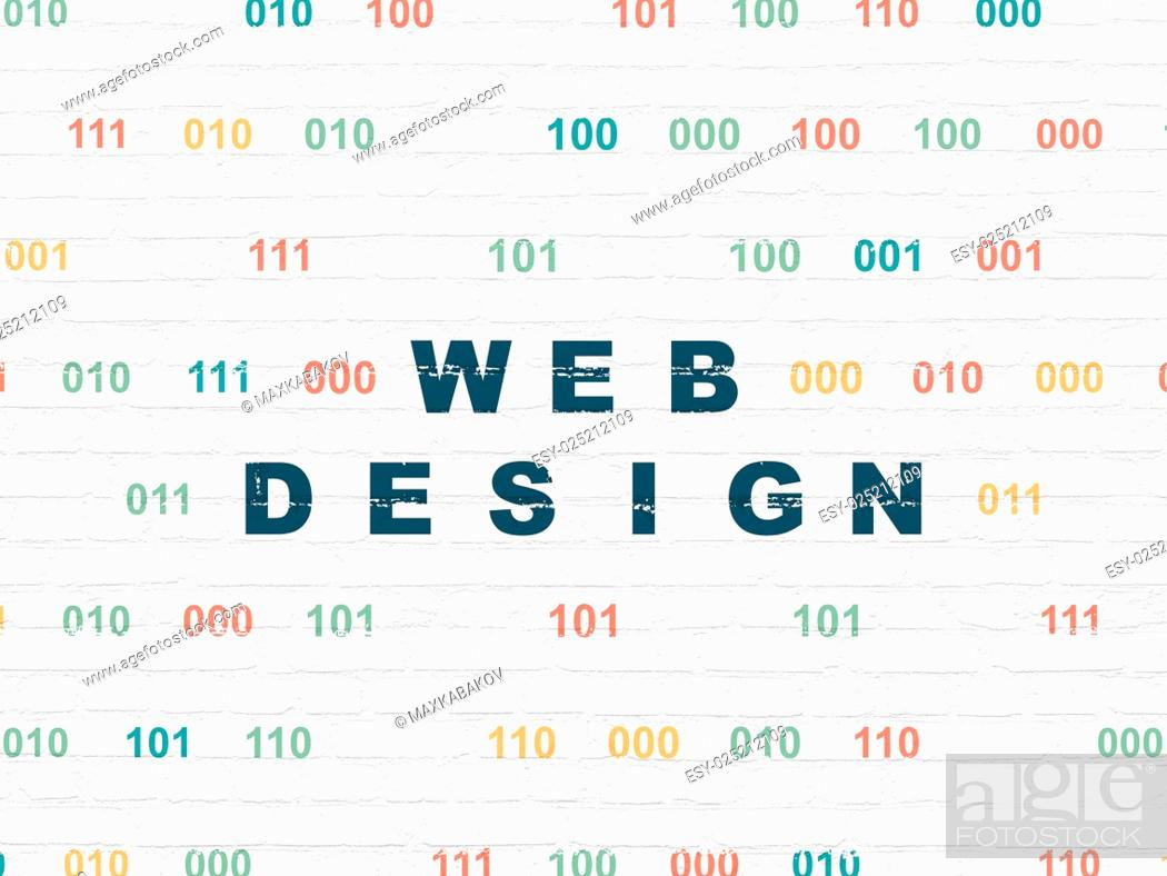 Stock Photo: Web development concept: Web Design on wall background.