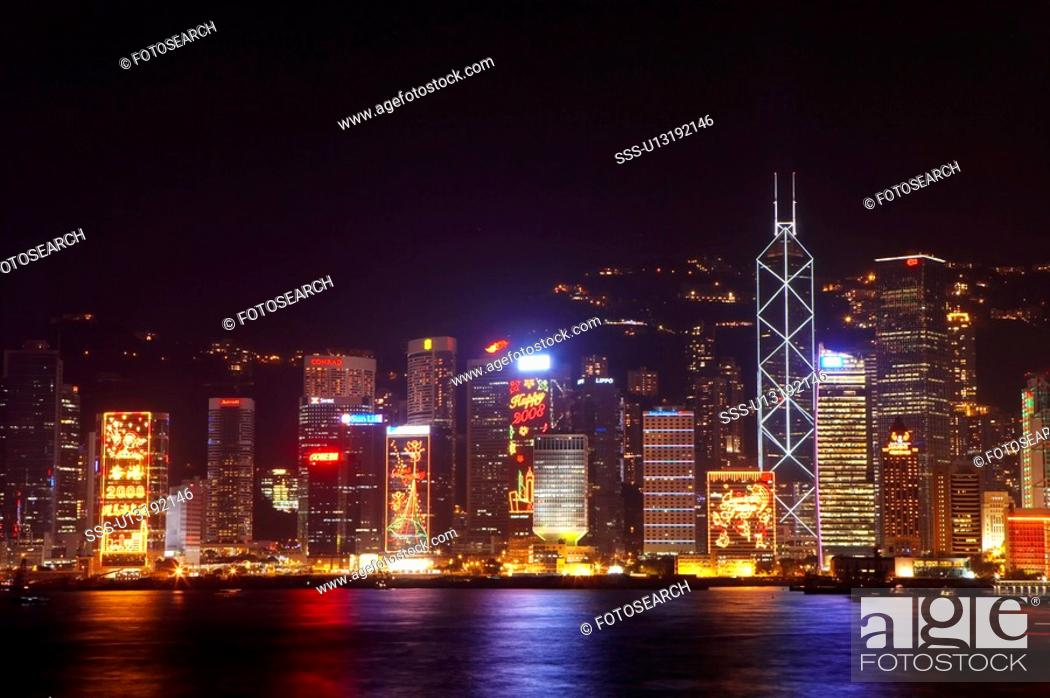 Stock Photo: Hong Kong Victoria Harbour and city skyline.