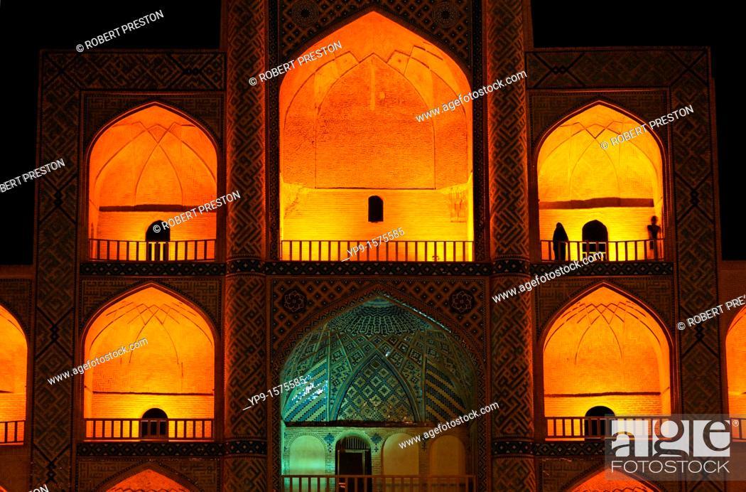 Stock Photo: Night view of the Mir Chaqmaq facade, Yazd, Iran.