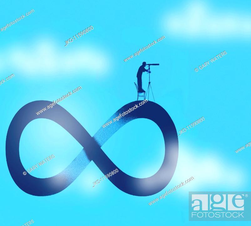 Man Looking Through Telescope Standing On Top Of Infinity Symbol