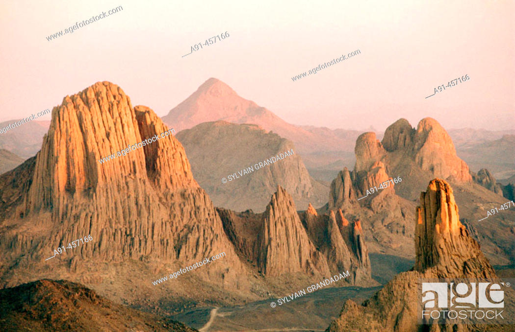 Stock Photo: Assekrem Pass in the Atakor Massif, where priest Charles de Foucault used to stay in an ermitage in 1911. Hoggar Mountains. Sahara. Algeria.