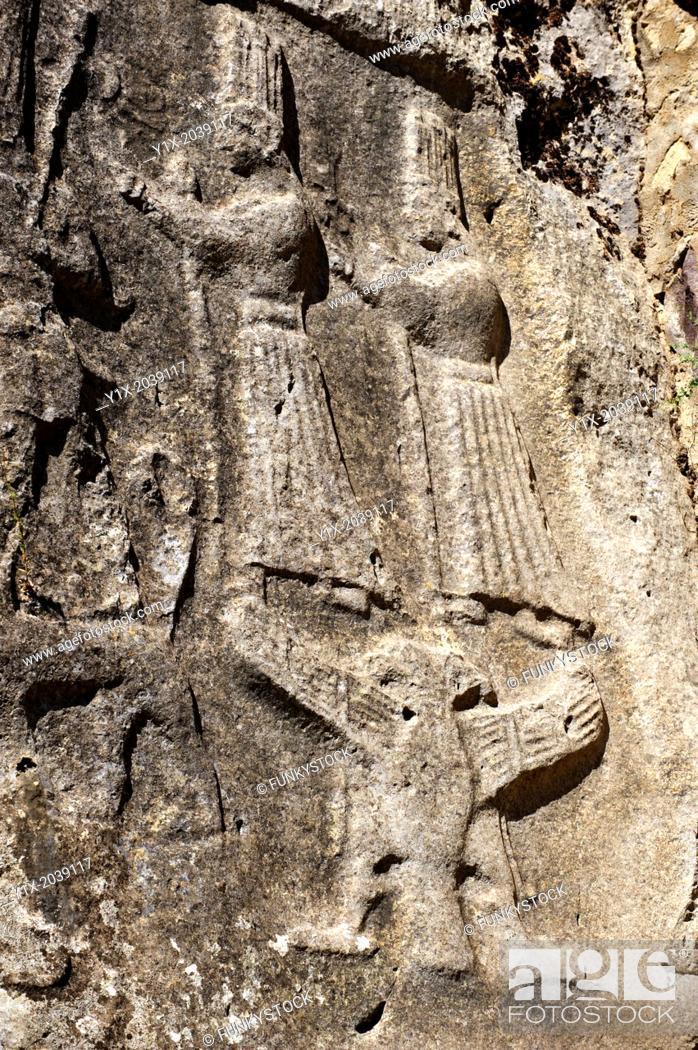 Stock Photo: Picture of Yazilikaya [ i.e written riock ], Hattusa The largest known Hittite sanctuary. 13th century BC made in the reign of Tudhaliya 1V . 8.