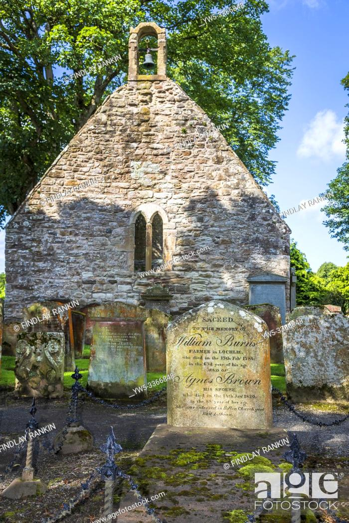Stock Photo: Alloway Kirk and graveyard with the grave stone of William Burns and Agnes Brown the parents of Robert Burns the Scottish national bard, Alloway, Ayr, Scotland.