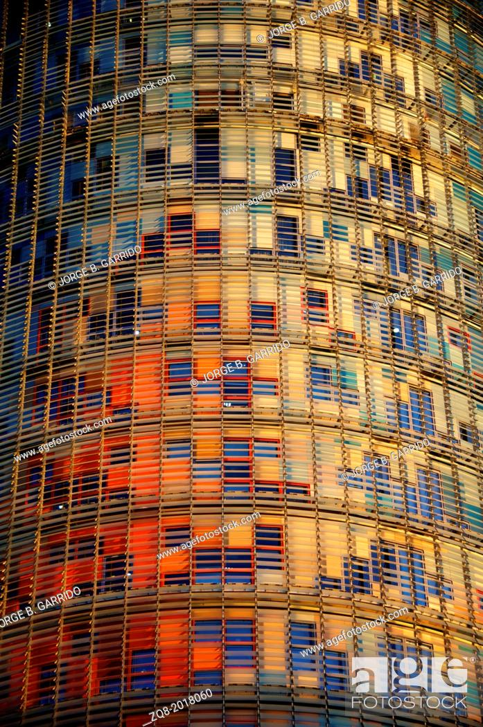 Stock Photo: BARCELONA, SPAIN - Torre agbar skyscraper.
