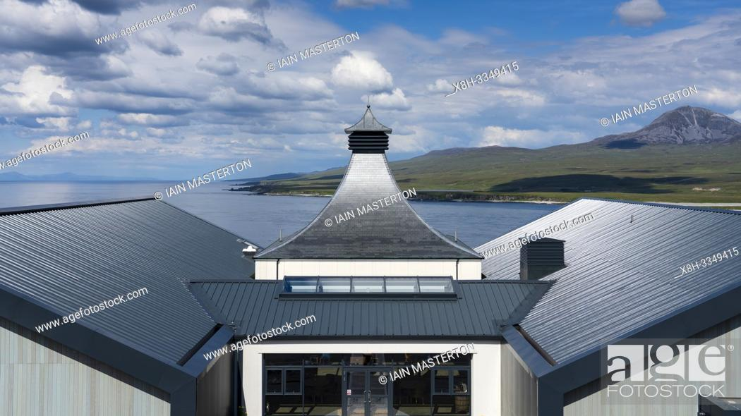 Stock Photo: View of new Ardnahoe Distillery on island of Islay in Inner Hebrides of Scotland, UK.