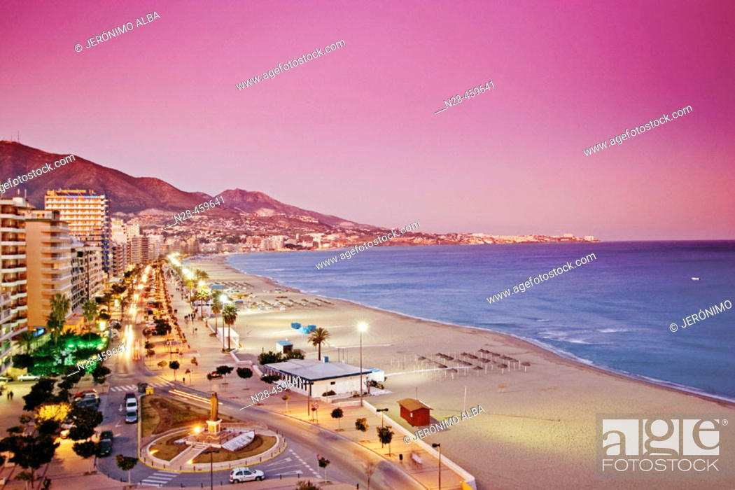 Stock Photo: Beach front and promenade in the evening, Fuengirola. Málaga province, Costa del Sol. Andalusia, Spain.