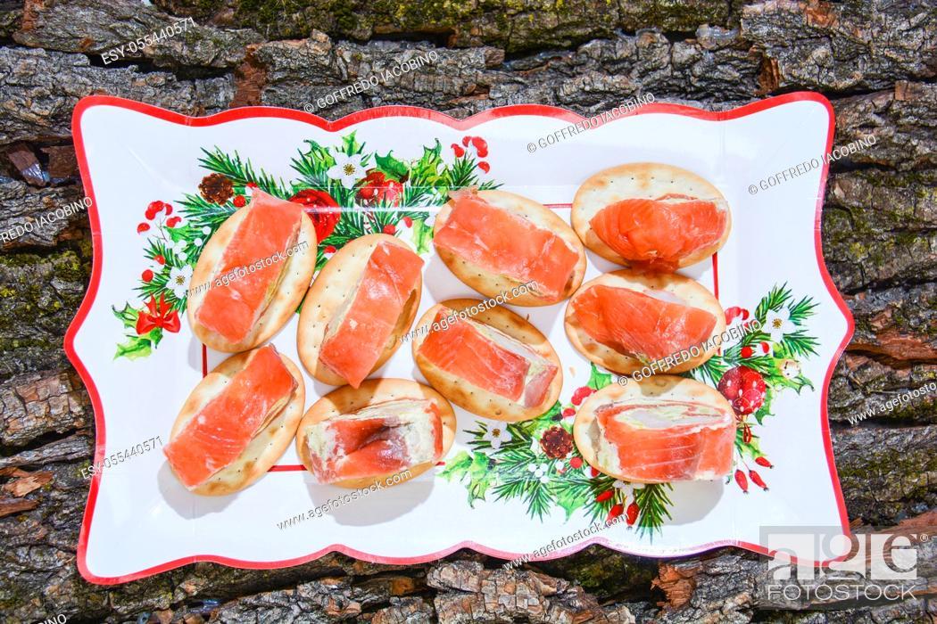 Stock Photo: appetizer original italian fine cuisine with salmon.