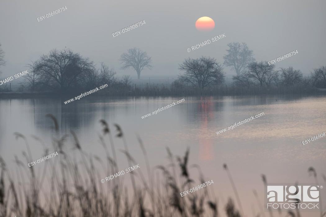 Stock Photo: sunrice over Jaroslavice pond, Czech Republic.