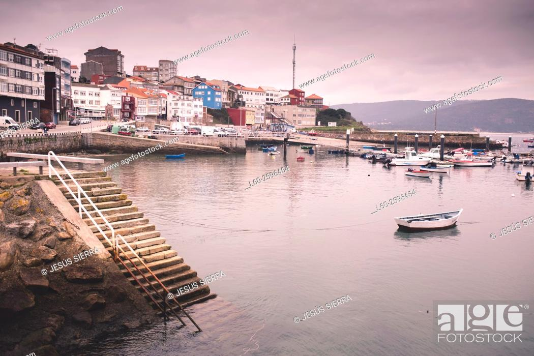 Stock Photo: Boats in the port of Finisterre, A Coruña, Galicia, Spain.