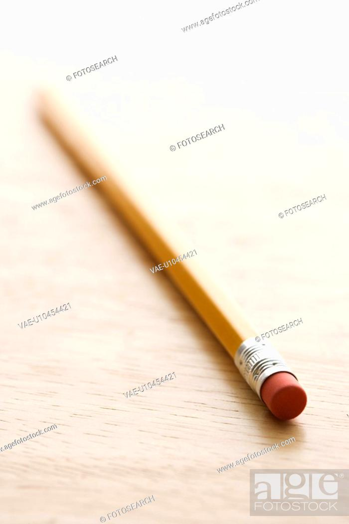 Stock Photo: Selective focus of eraser end of pencil.