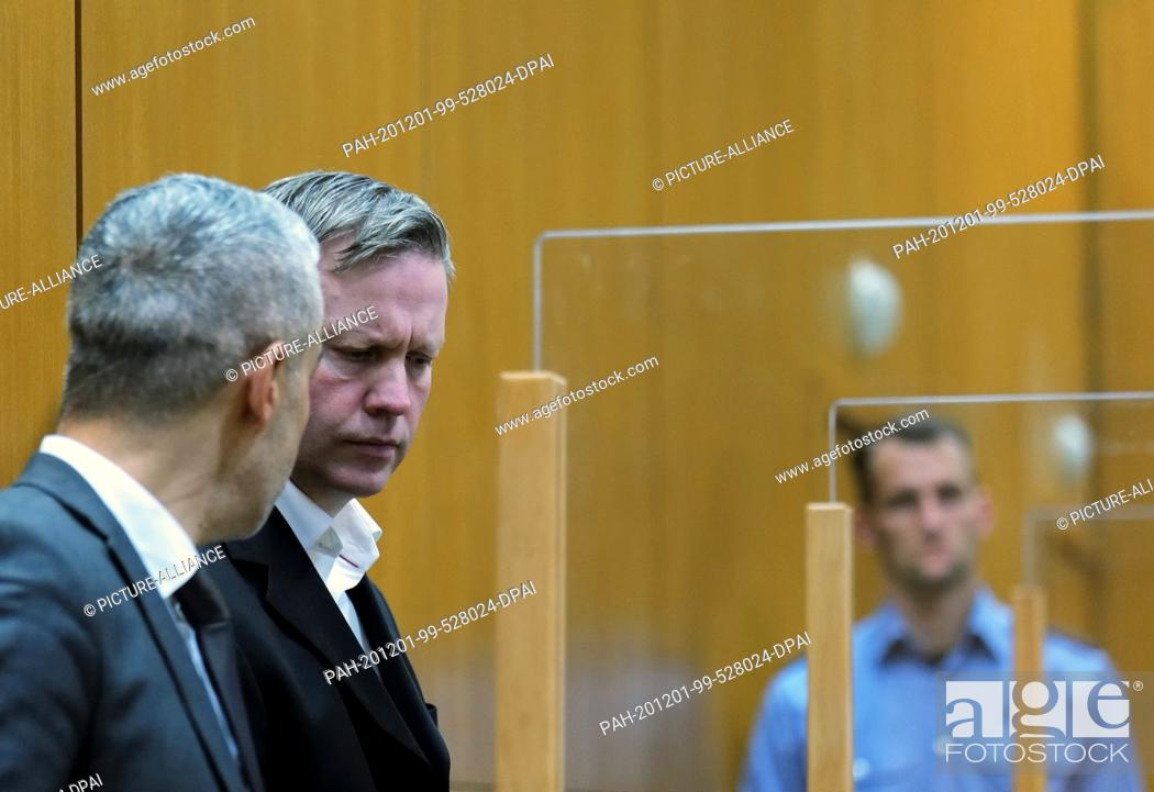 Stock Photo: 01 December 2020, Frankfurt/Main: The main defendant Stephan Ernst (2nd from left) and his lawyer Mustafa Kaplan wait in the courtroom of the Higher Regional.
