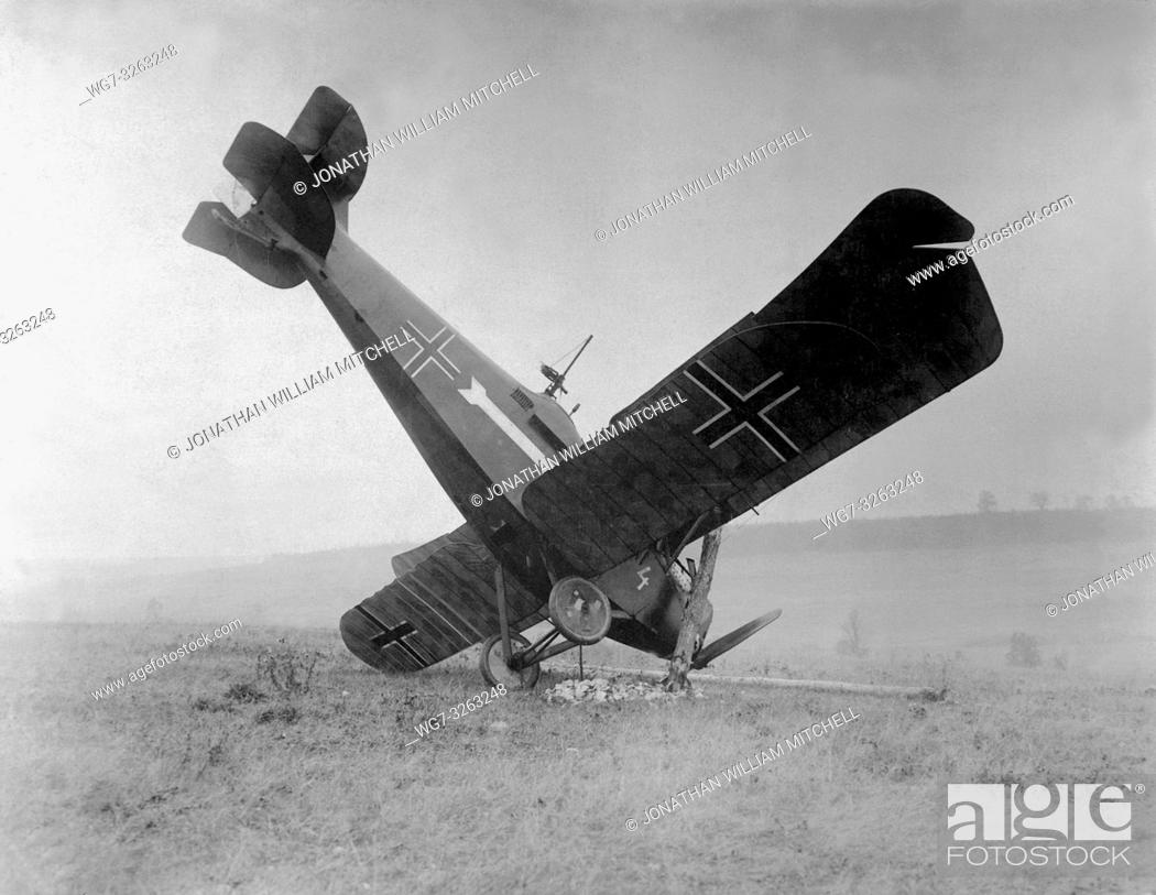 Stock Photo: FRANCE -- 04 Oct 1918 -- A German biplane C. L. III A 3892/18 brought down in the Argonne by American machine gunners, between Montfaucon and Cierges.