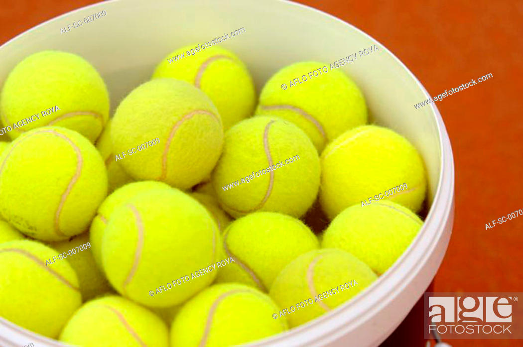 Stock Photo: Tennis Balls in a Bucket.