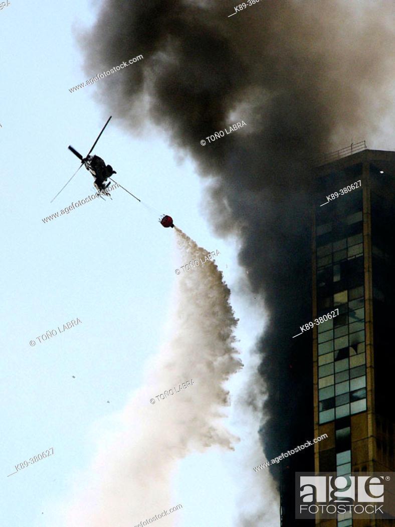 Stock Photo: Fire on Parque Central. Caracas. Venezuela.