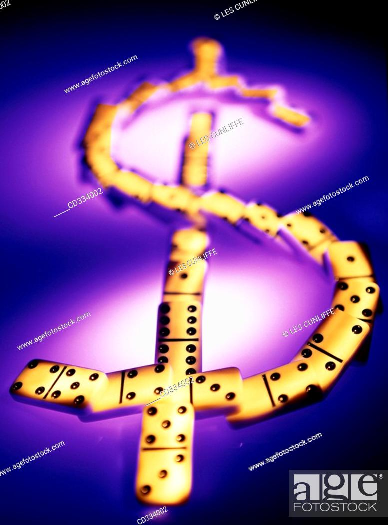 Stock Photo: Domino & 'Dollar' sign.