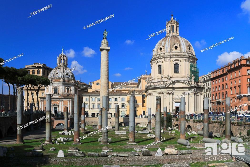 Stock Photo: Trajan's Forum and the Church of Santa Maria di Loreto, Rome, Italy.