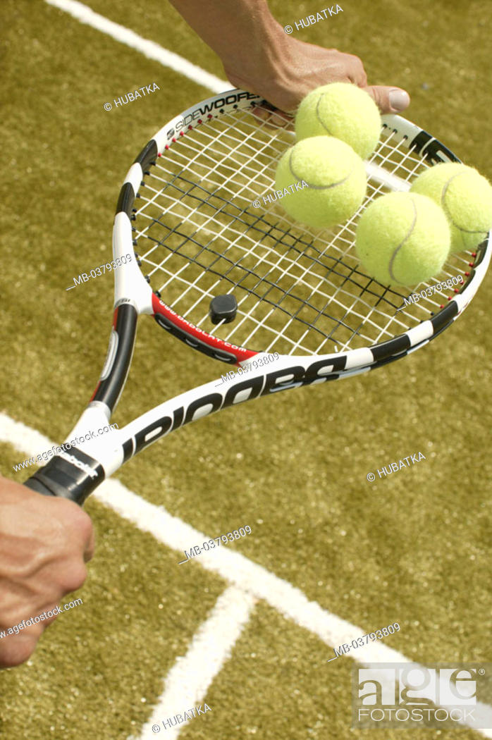 Men's hands, tennis rackets, Balls, balances Tennis court, man, hands,  clubs, holding, tennis balls, Stock Photo, Picture And Rights Managed  Image. Pic. MB-03793809 | agefotostock