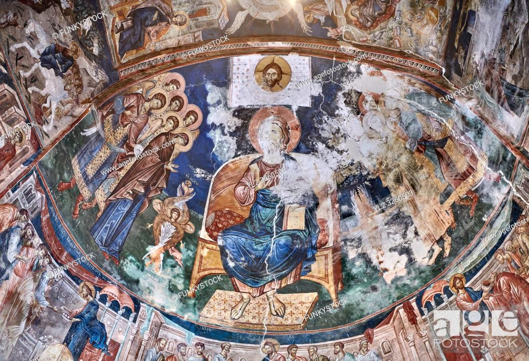 Stock Photo: Pictures & images of the interior frescoes of Christ Pantocrator in the Apse of Ubisa St. George Georgian Orthodox medieval monastery, Georgia (country).