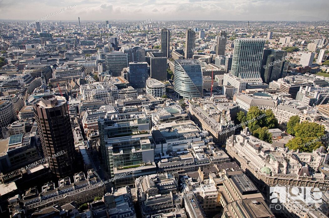 Stock Photo: United Kingdom. England. City of London. High, panoramic viewpoint.