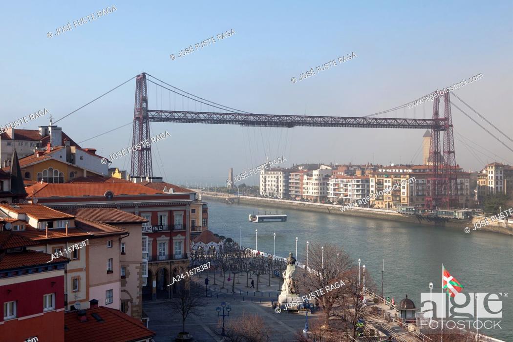 Stock Photo: Vizcaya Bridge transporter bridge, Portugalete, Basque Country, Spain.