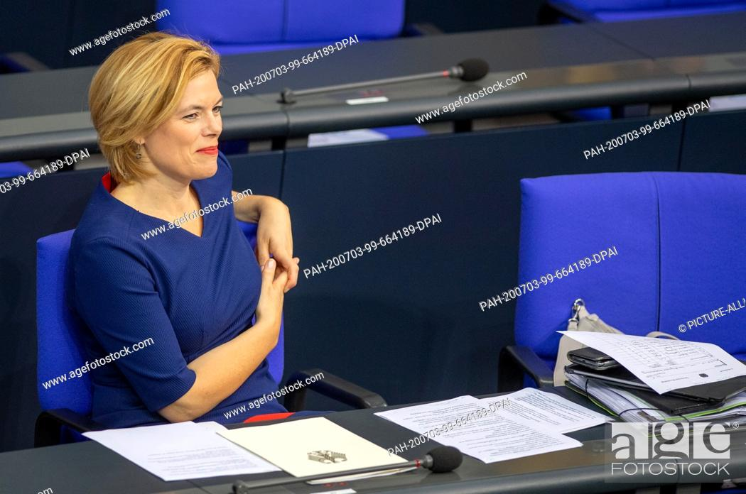 Stock Photo: 03 July 2020, Berlin: Julia Klöckner (CDU), Federal Minister of Food and Agriculture, sits in the government bench during the plenary session in the German.