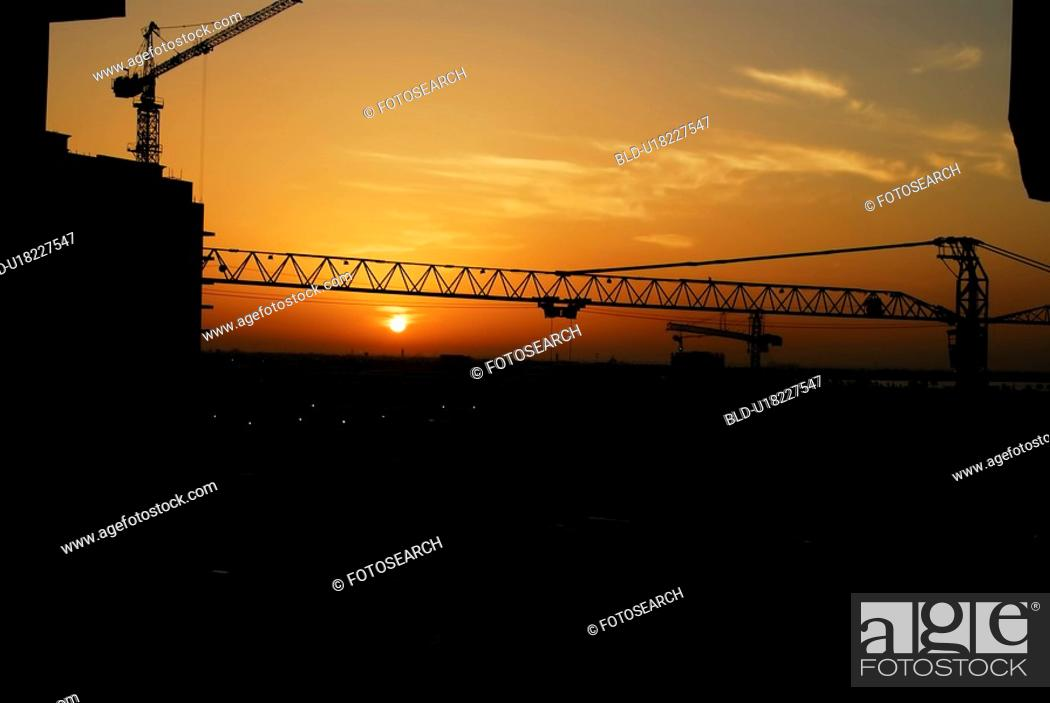 Stock Photo: sunset, sunrise, rise, construction, dubai, building.