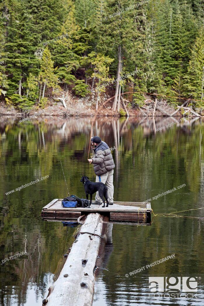 Stock Photo: Fly fishing at Loggers Lake; Whistler, British Columbia, Canada.