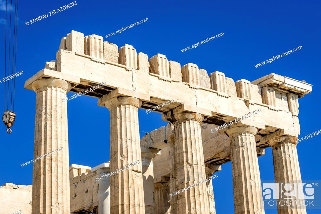 Stock Photo: Close up on Parthenon temple dedicated to the goddess Athena, , part of Acropolis of Athens city, Greece.