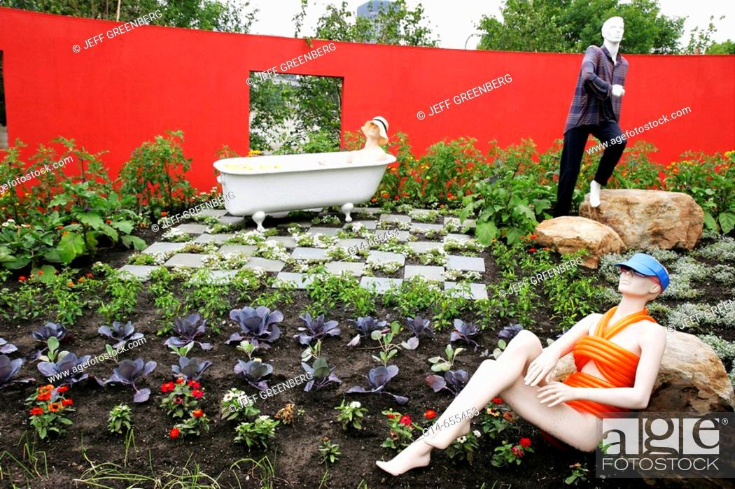 Stock Photo: Canada, Montreal, International Flora Montreal Garden Festival, art, female mannequin, botanical, flowers,.