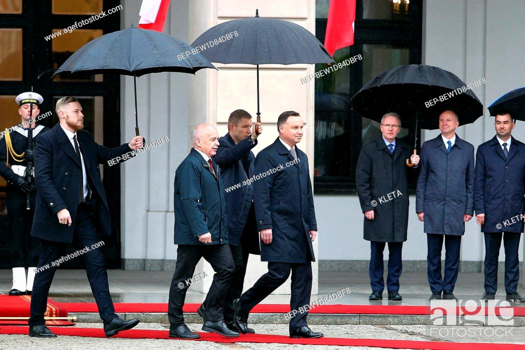 Stock Photo: A visit of the President of the Swiss Confederation to Warsaw, Poland on May 14th 2019. Pictured: Andrzej Duda and Ueli Maurer.