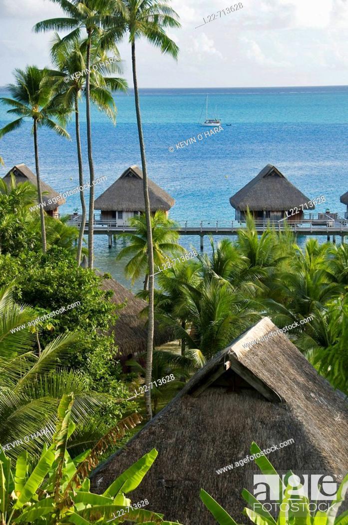 Stock Photo: Bora-Bora Nui Resort. Bora-Bora. Islands in the Windward. Archipelago of Society Islands. Southern Pacific Ocean. French Polynesia.