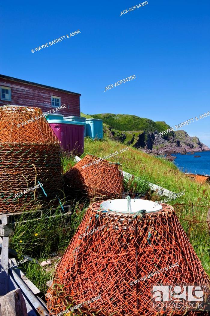 Stock Photo: Crab traps, Red Head Cove, Newfoundland and Labrador, Canada.