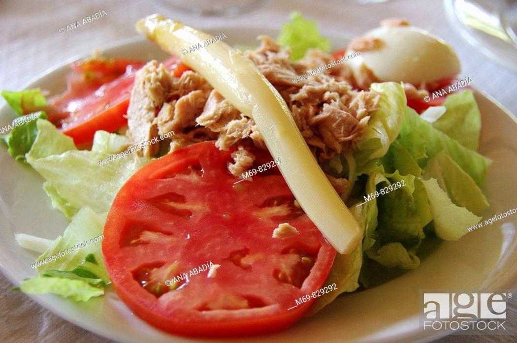 Stock Photo: Salad (tomato, asparagus, tuna fish, lettuce, egg).