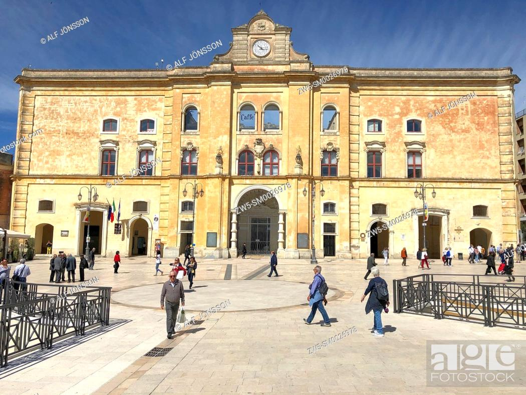 Stock Photo: The palace and square in Matera, Basilicata; Italy.