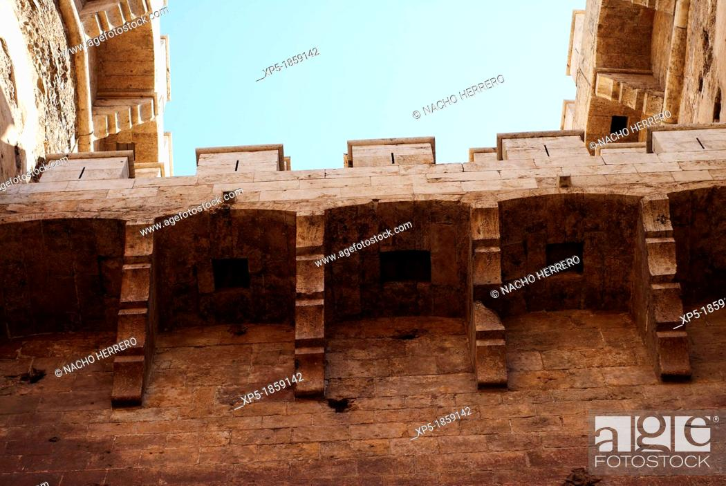 Stock Photo: Wall section of the Torres de Quart, Valencia.