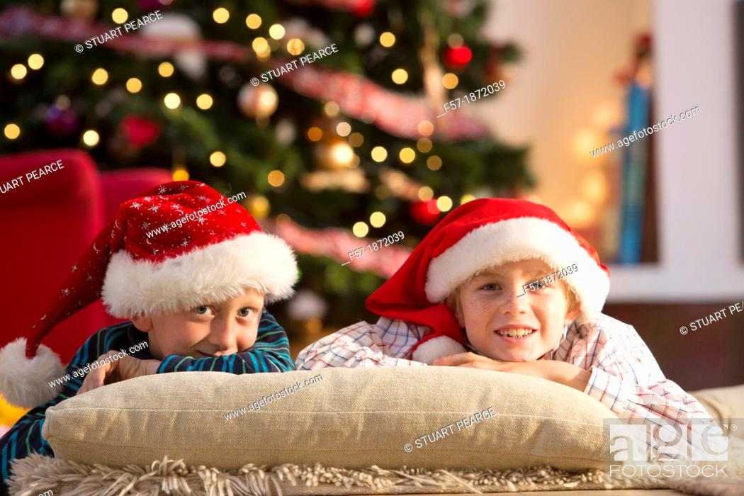 Stock Photo: Two eight year old friends at Christmas time.