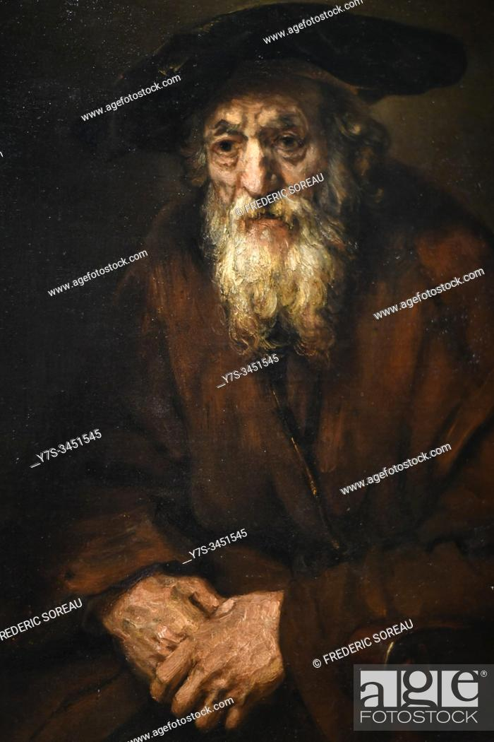Stock Photo: Portrait of an Old Jew, 1654, painting by Rembrand, Hermitage museum, St Petersburg Russia, Europe.
