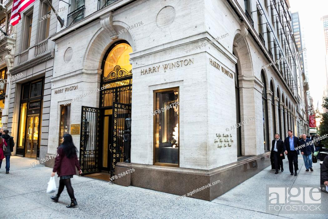 Stock Photo: The flagship store of the fine jeweler Harry Winston on 5th Avenue.