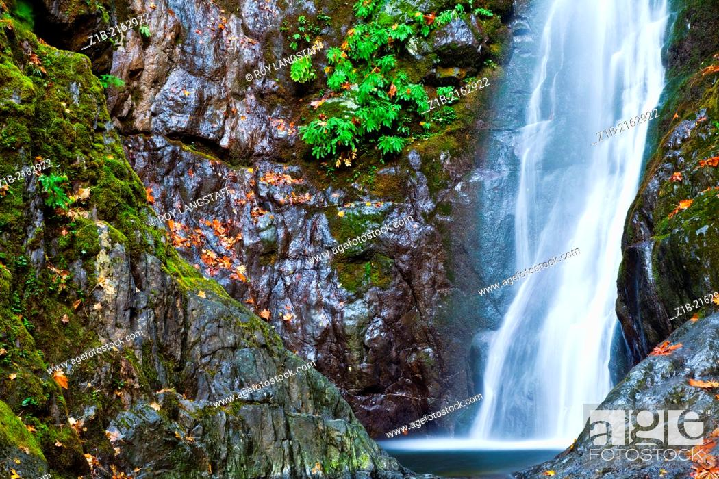 Stock Photo: A waterfall in a rocky environment, Vancouver Island, Canada.