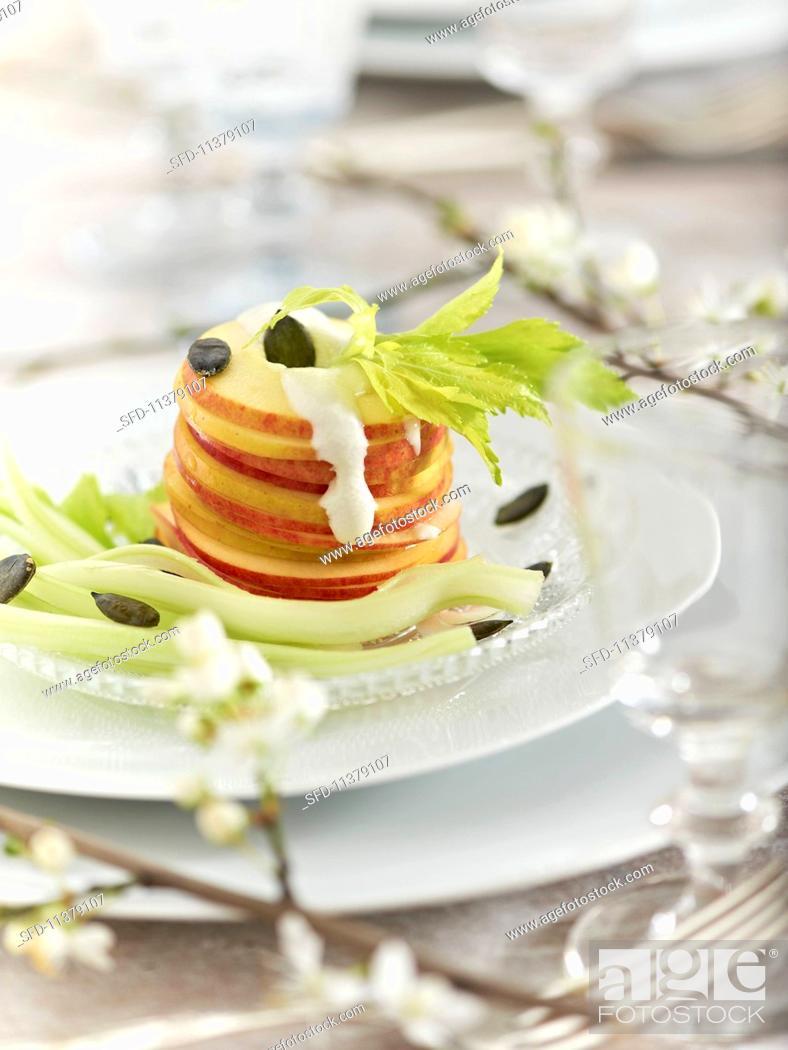 Stock Photo: Waldorf salad with Gorgonzola sauce.
