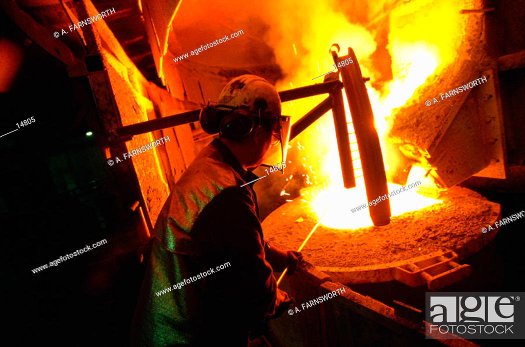 Stock Photo: Furnace at steel mill.