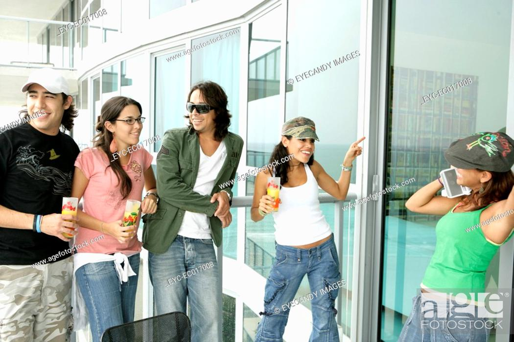 Stock Photo: View of friends having fun.