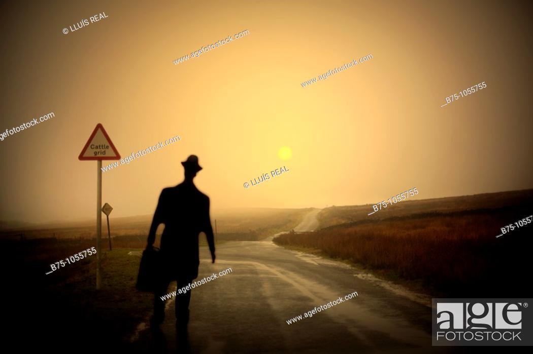 Stock Photo: Silhouette, country road.