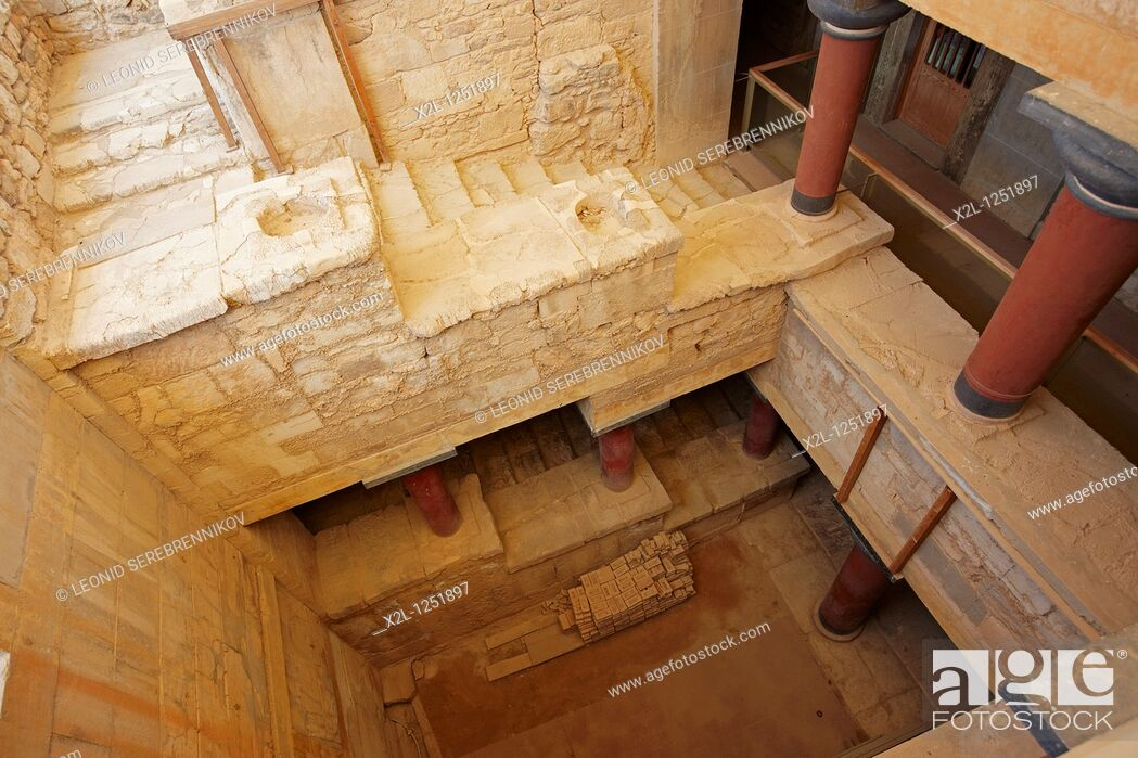 Stock Photo: The Grand Staircase  Knossos Palace, Crete, Greece.