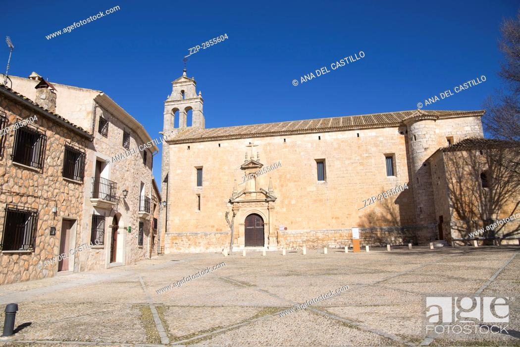 Stock Photo: Alarcon village in Cuenca province Castile La Mancha Spain San Juan Bautista church.