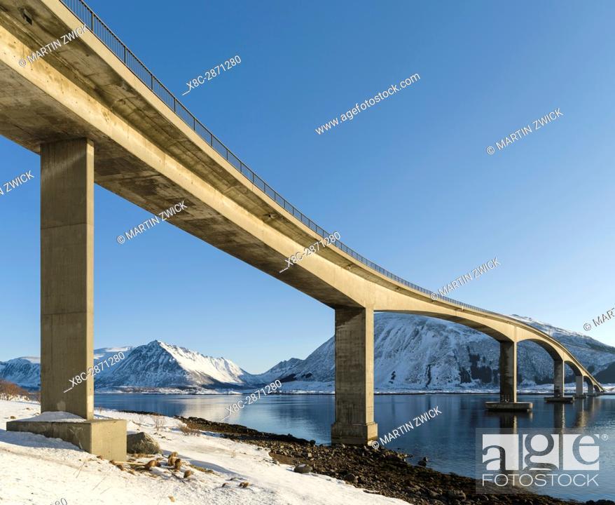Stock Photo: Bridge from Gimsoya to Austvagoya over Gimsoystraumen. The Lofoten islands in northern Norway during winter. Europe, Scandinavia, Norway, February.