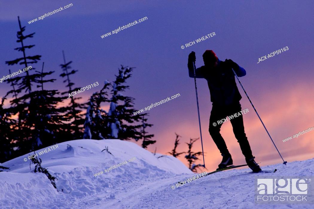 Stock Photo: Nordic skate skiing at Cypress Mountain ski area, Hollyburn Mountain. Cypress Bowl, West Vancouver. British Columbia, Canada.