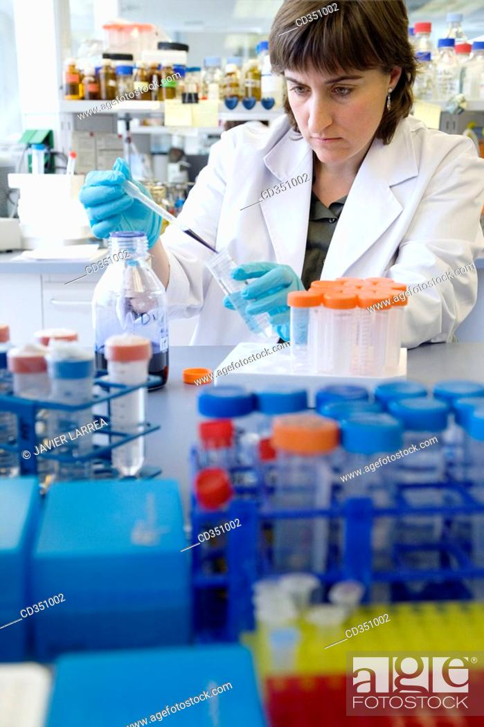 Stock Photo: Substance staining, biopharmaceutical lab, development of new therapeutic molecules based on human antibodies for the treatment of infectious and inflammatory.